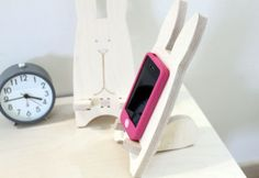 Wood Rabbit Cell Phone Holder