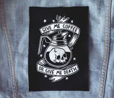 Coffee or Death  Black Patch by CatCoven on Etsy
