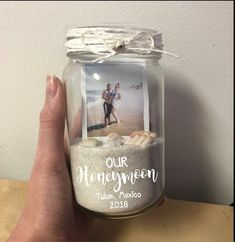 Our Honeymoon Picture Frame Sand Jar Polaroid Memory Box Mas.- Our Honeymoon Picture Frame Sand Jar Polaroid Memory Box Mason Jar Beach Vacation Just Married Hubby Wifey Honeymoon Vibes Travel Memories Box, Travel Memories, Wedding Wishes, Our Wedding, Dream Wedding, Wedding Favors, Wedding Centerpieces, Wedding Ceremony, Wedding Memory Box