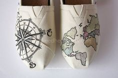 Custom Painted TOMS Shoes - Travel Compass and Colored World Map - Adult
