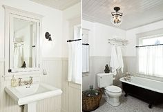 Glamorous Four-Square House Design.  Note the original built in mirror, beadboard on the walls, and antique tub.