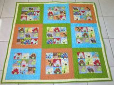 Animal Baby Quilt Boy  Girl Retro Baby Quilt Funky by diningout, $132.00