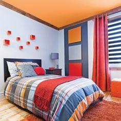 Chambre garçon - Inspirations - Géométrie - Orange - Rouge - Bleu - Pratico Pratiques