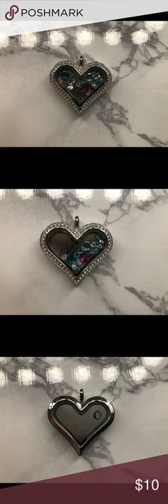 Origami Owl Heart Locket Locket comes with back plate that says blessed - and with pretty crystals - doesn't come with chain. Origami Owl Accessories