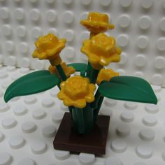 Lego Rose Bush Plant with Six Orange Roses and by TheMerryBeader