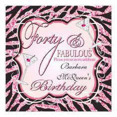 Pink Zebra Sequin 40th Birthday Party Invitations