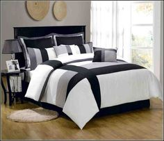 The Undisputed Truth About Black and White Bedding Sets For Your Dramatic Bedroom That the Experts Don't Want You to Hear - homemisuwur Grey And White Comforter, Grey Comforter Sets, Bedding Sets, Home Furniture, Furniture Design, Bedding Websites, Bed Design, Bed Spreads, Luxury Bedding