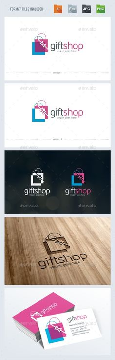 Gift Shop Logo Template — Vector EPS #box #color • Available here → https://graphicriver.net/item/gift-shop-logo-template/12748240?ref=pxcr
