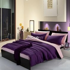 Two-Color(Purple and Pink) Solid Cotton 4-Piece Queen/King Size Duvet Covers
