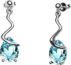 Εντυπωσιακό ζευγάρι σκουλαρίκια με πέτρα Swarovski από ασήμι