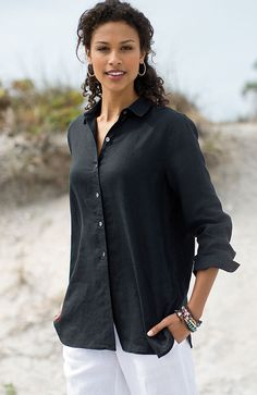 shirts & tops > linen big shirt at J.Jill