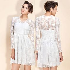 TS Vintage Lace V-neck Ruffle Dress - USD $ 22.50