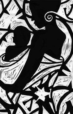 ✽ 'african woman and child - cat hartigan - linocut Black Art, Black Women Art, White Art, African American Art, African Men, African Attire, African Style, African Dress, African Art Paintings