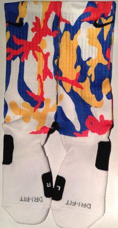 Camo Colors Blue Gold Crimson Custom Nike by DopeSocksAndStuff, $24.99