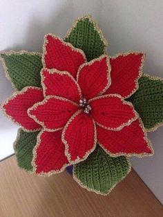 Crochet flowers 621074604847869949 - Granny Flower Crochet – Nochebuena Free Donwload Source by cotonjelka Crochet Flower Tutorial, Crochet Flower Patterns, Crochet Motif, Crochet Doilies, Crochet Flowers, Free Crochet, Crochet Christmas Decorations, Crochet Christmas Ornaments, Christmas Crochet Patterns