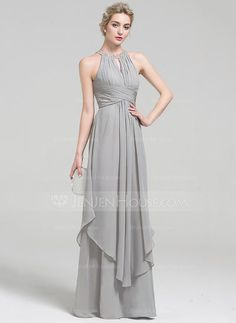 A-Line/Princess Scoop Neck Floor-Length Chiffon Evening Dress With Beading Sequins Cascading Ruffles (017093497)