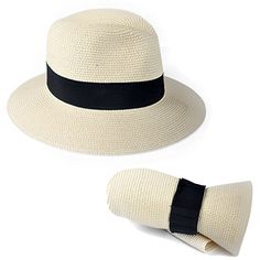 F019 Unisex Straw Fedora Trilby Packable Travel Sun Hat  Amazon.ca   Clothing   a4e4a78dd305