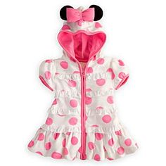 Disney Minnie Mouse Cover-Up for Baby | Disney StoreMinnie Mouse Cover-Up for Baby - After a swim or bath, Minnie helps keep baby cozy with her pretty polka dot cover-up. This soft terrycloth robe with mouse ear hood and full zip front is frillied with ruffled trims, puff sleeves, and topped with a bow!
