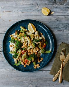 Char-grilled Broccoli with Chickpeas, Almonds, Lemon and Chilli