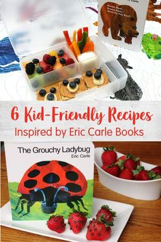 Here are 6 kid-friendly food ideas to pair with your favorite Eric Carle books like The Very Hungry Caterpillar, Brown Bear, Brown Bean and more. Super Healthy Recipes, Healthy Kids, Ladybug Snacks, The Very Busy Spider, Cool Lunch Boxes, Eric Carle, Some Recipe, Kid Friendly Meals