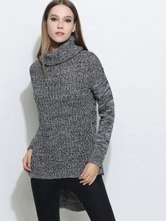 Women Knitted Bifurcate Pullovers Casual Turtleneck Sweaters - OneBling