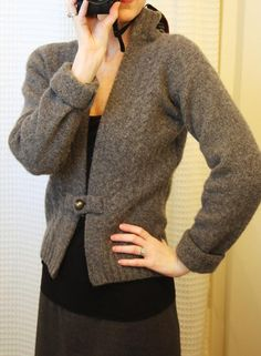 DIY SWEATERS: Remake a ruined sweater into this lovely cardigan: DIY Clothes Refashion