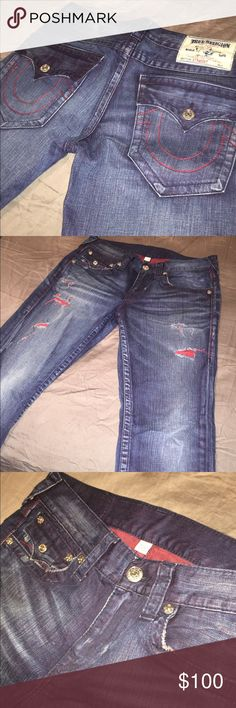 True Religion Brand Jeans Worn Once But still in great condition ! The red stitching looks very nice. (Authentic) True Religion Jeans Straight