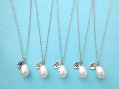 White Pear, Italic Font, Set of 5, Bridesmaid, Silver Initial Necklace | simplecrystal - Jewelry on ArtFire