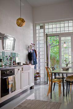 kitchen - annacate lives here - Fine Little Day - glass brick wall