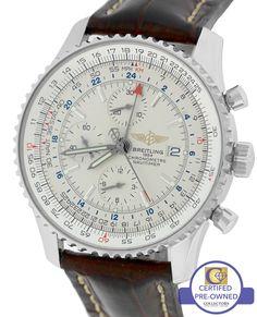 Breitling Navitimer World GMT Stainless 46mm Cream A24322 Chronograph Watch