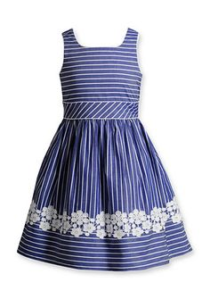 Bloome Denim Striped Nautical Dress Girls 7-16