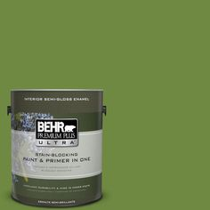 BEHR Premium Plus Ultra 1-gal. #S-H-420 Shamrock Semi-Gloss Enamel Interior Paint