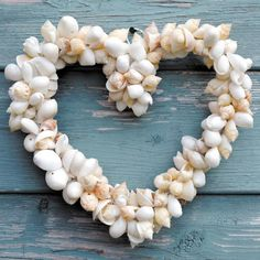 Mixed Shell Heart Wreath - A perfect idea for a Beach House Valentine's Day!