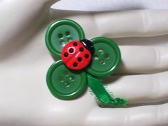 Lucky Shamrock Ladybug Button Pin / Brooch by BrightSideOut, Would be really cute for a hair piece or head band for a little girl!  <3