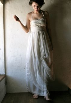 wedding dress in ivory white silk chiffon - outdoors beach wedding gown - organic fairy dress hippie boho wedding. €400.00, via Etsy.