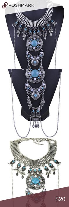 ‼️2 LEFT‼️Statement Necklace w Turquoise Stones ONLY 3 LEFT. Pair this Egyptian styled necklace with any plain shirt/dress and make it look absolutely stunning. 💖😼   **BUY 3 OR MORE ITEMS FOR 15% OFF!** Jewelry Necklaces