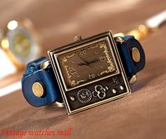 Retro leather watch strap wide square joker by Vintagewatchesmall, $16.59