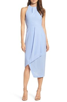 Angled pleats, an asymmetrical hemline and a pastel blue hue make this faux wrap-front dress perfect for summer weddings.