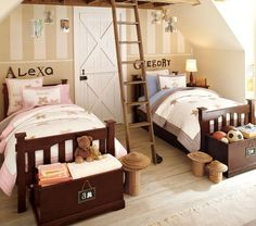Beautiful #shared bedroom space for kids.