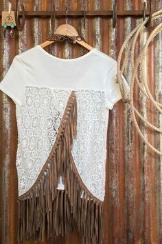 The Adair - suede fringe and crocheted back top from Savannah Sevens Western Chic