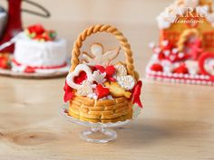 Basket Cake Filled with Valentine's Day Treats  by ParisMiniatures