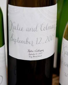 (Currie Wedding) Sticking with the vineyard theme, Katie and Colman asked their guests to write notes on wine labels created