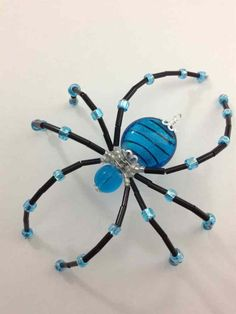 Beaded Christmas Spider / Window Ornament - Teal & Black