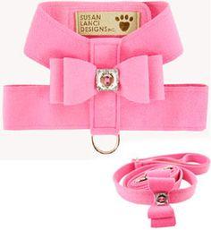 Dog Harnesses Big Bow Perfect Pink Designer Harness With Swarovski Crystal