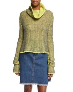 ACNE STUDIOS Long-Sleeve Turtleneck Sweater, Gray Melange/Yellow. #acnestudios #cloth #