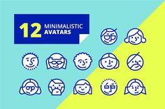 Set of simple geometric avatar icons by Lankogal on Creative Market