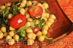 Salad season is almost upon us. This chickpea dish can be served warm or cold, depending on how co-operative the weather is being :) This t. Chickpea Salad, Salads, Warm, Dishes, Canning, Vegetables, Food, Weather, Tablewares