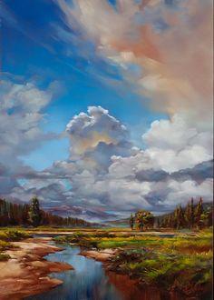 "High Mountain Meadow  Oil on Wood  51 x 35"""