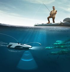 at the CES 2017 trade show, powervision presents the 'powerray', an underwater drone that revolutionizes the recreational fishing industry.