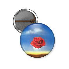Salvador Dali Pin, Meditative Rose Button or Magnet, Classic Art Button, Surrealism Softball Goodie Bags, Salvador Dali, Surrealism, Decorative Plates, Meditation, Classic, Art, Derby, Art Background